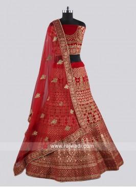 Raw Silk Red Heavy Lehenga Choli