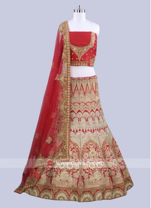 Raw Silk Red Lehenga Choli