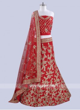 Raw Silk Red Lehenga Choli for Bridal
