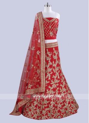 Raw Silk Red Lehenga Choli for Bridal