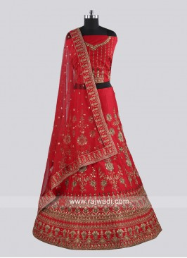 Raw Silk Red Lehenga Choli With Dupatta