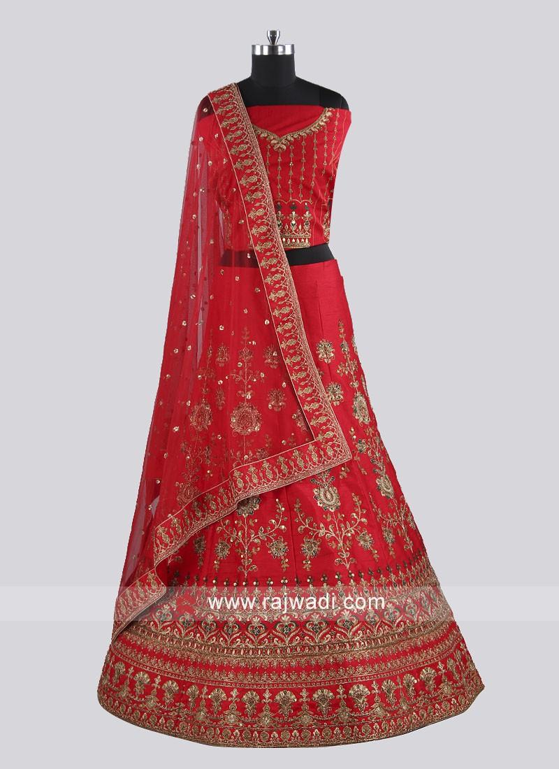Raw Silk Red Lehenga Choli With Dupatta