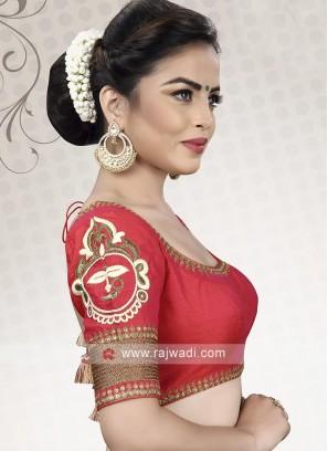 Raw Silk Red Ready Choli