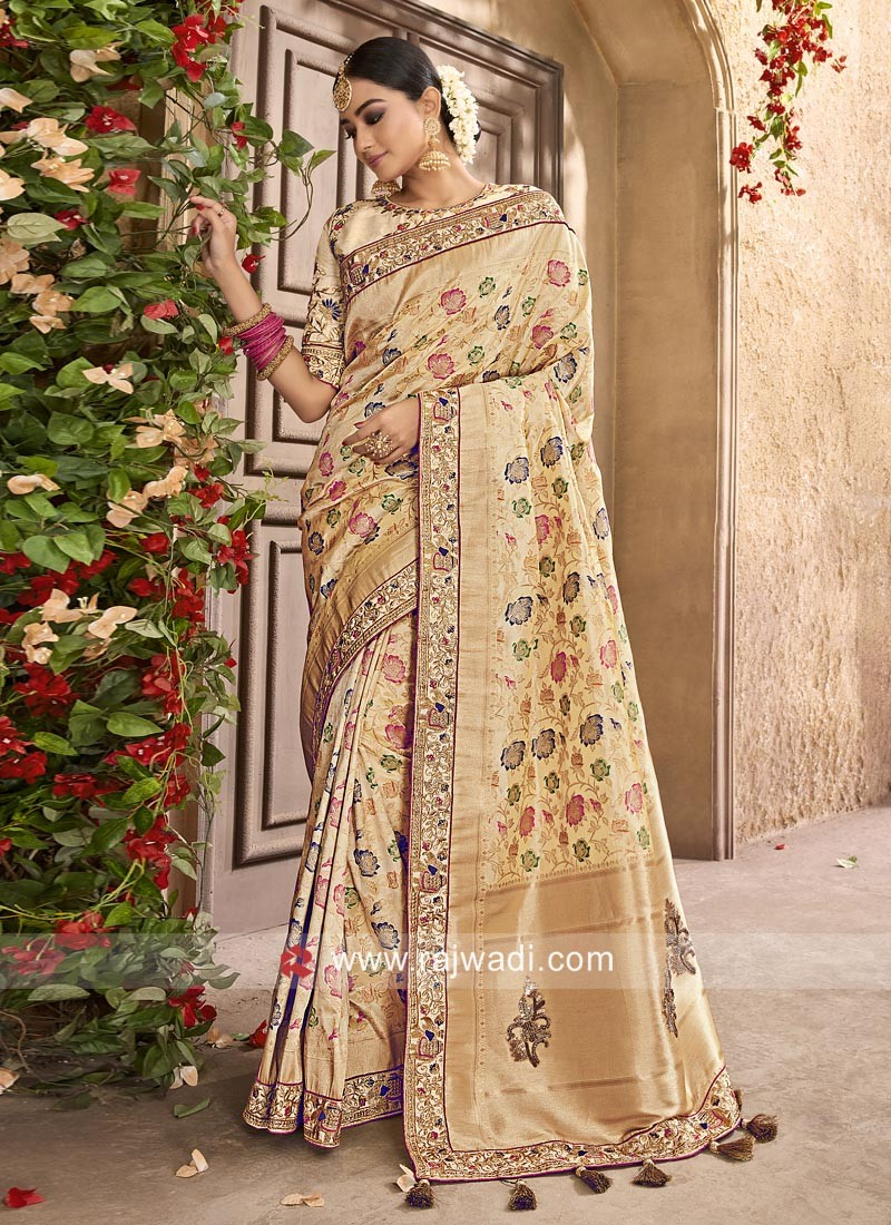 Raw Silk Resham Work Saree