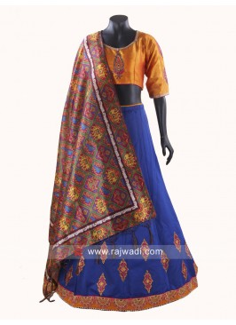 Raw Silk Resham Work Stitched Chaniya Choli