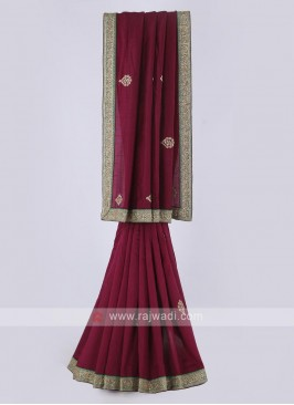 Raw silk saree in magenta color