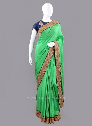 Raw Silk Saree with Contrast Border