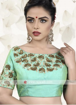 Raw Silk Sea Green Color Ready Choli