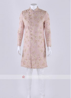 Raw silk sherwani in pink color