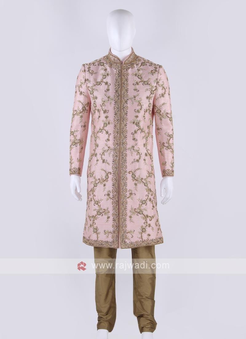 Raw silk sherwani in pink color