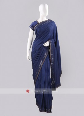 Raw Silk Stone Work Sari