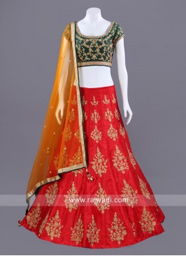 Raw Silk Three Tone Color Choli Set