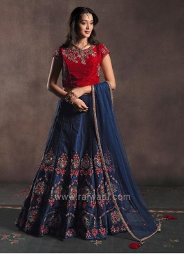 Raw Silk Two Tone Embroidered Lehenga Set