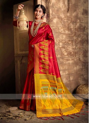 Raw Silk Weaving Work Saree