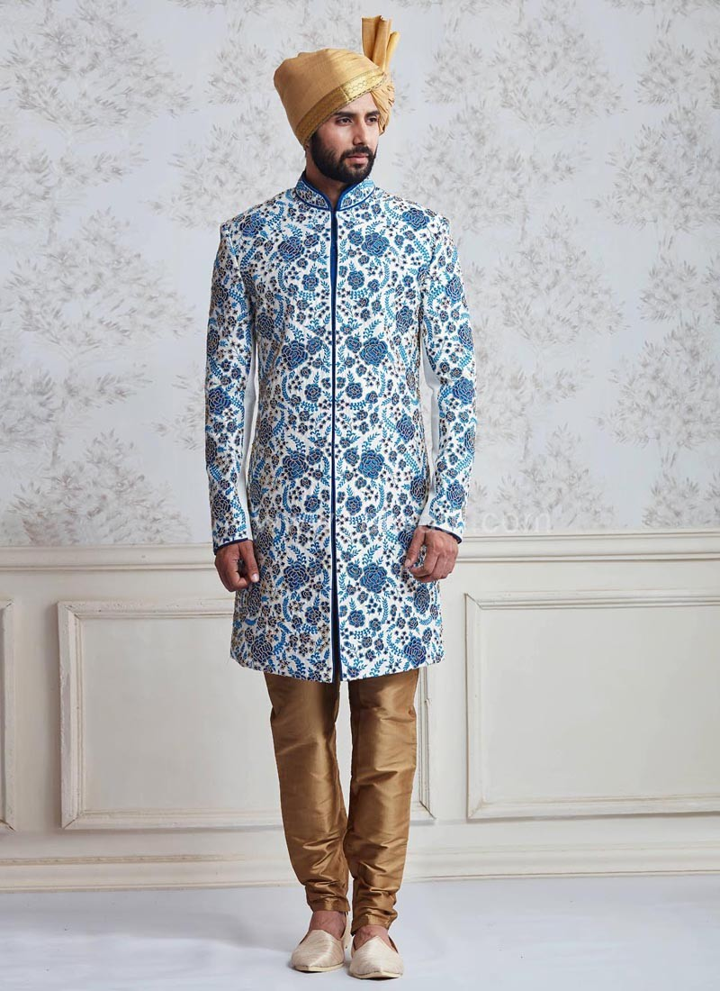 Raw Silk Wedding Indo Western Sherwani