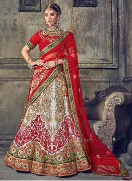 Raw Silk Wedding Lehenga Set with Dupatta