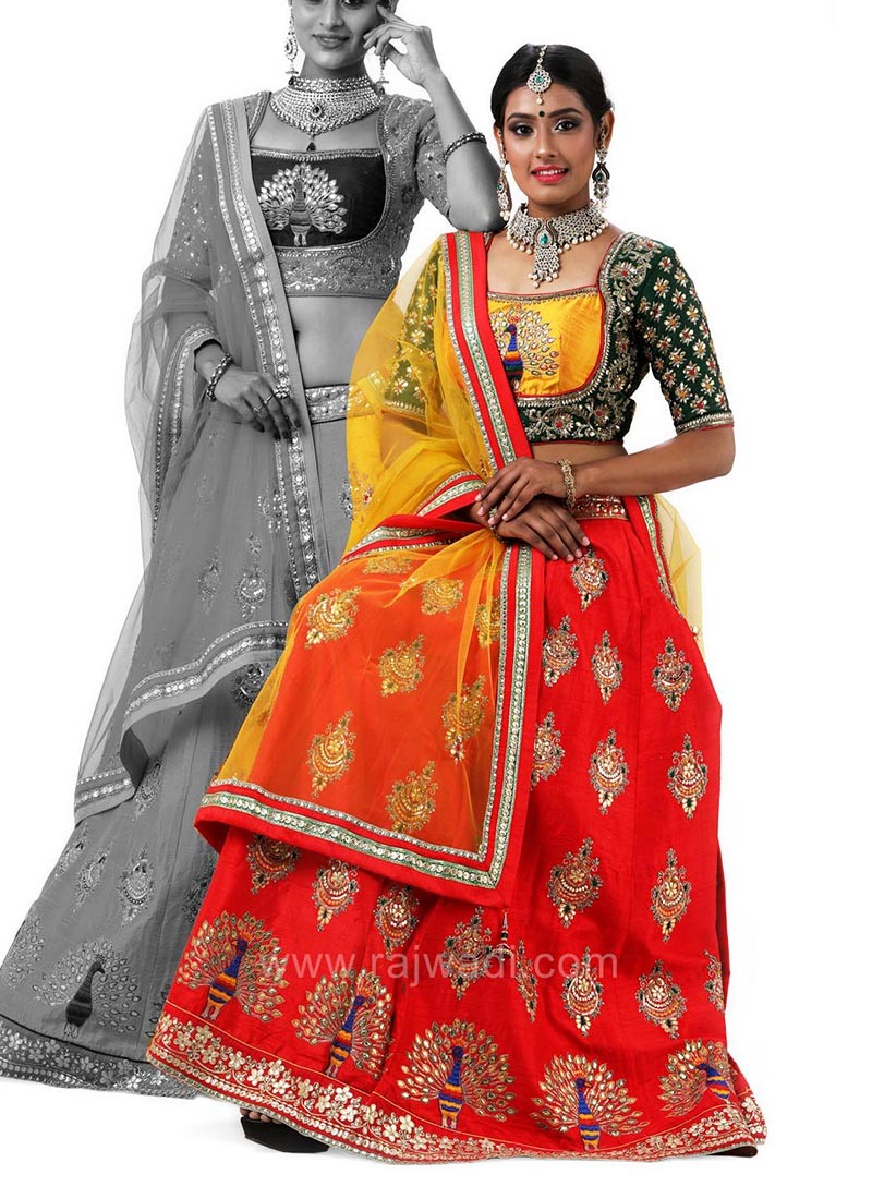 Raw Silk Wedding Peacock Embroidered Choli Suit