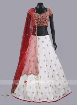 Raw Silk White Lehenga Set