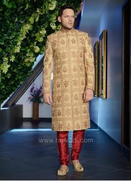 Raw Silk Zardozi Work Indo Western Sherwani