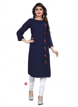 Rayon Casual Kurti in Navy Blue