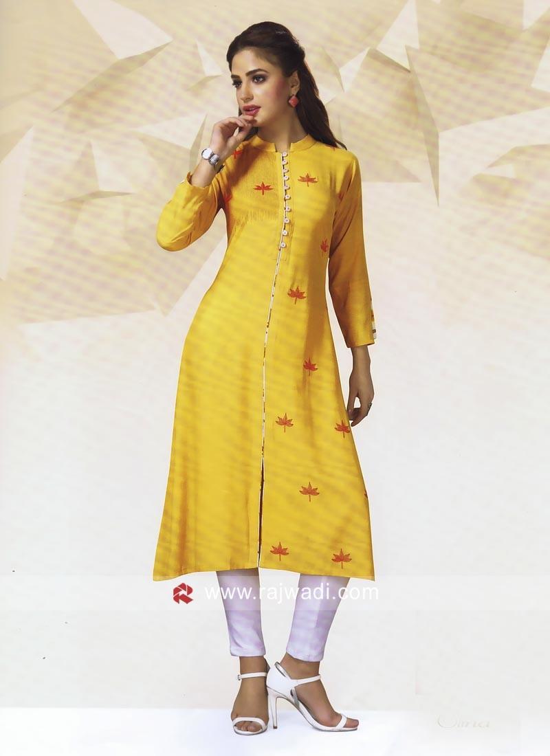 Rayon Cotton Golden Tunic