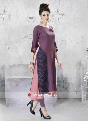 Rayon Cotton Layered Kurti with Hap Sleeves