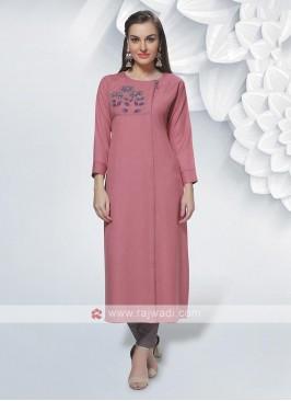 Rayon Gajari Pink Color Kurti