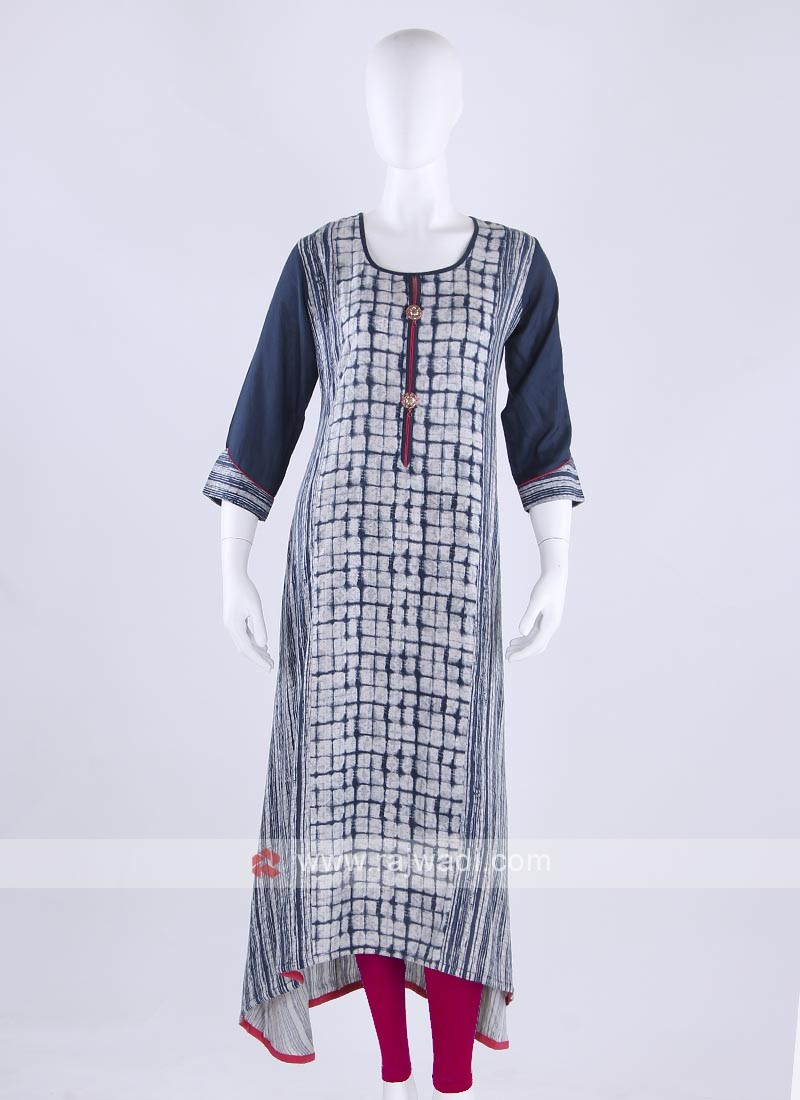 Rayon kurti in blue color