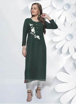 Rayon Kurti In Bottle Green