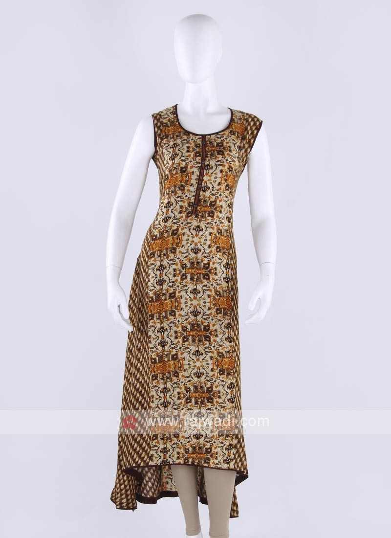 Rayon kurti in goldenrod color