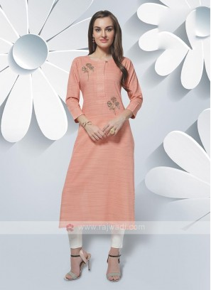 Rayon Kurti In Light Orange