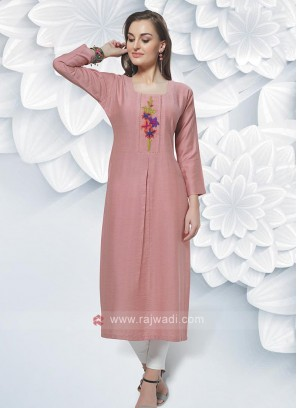 Rayon Kurti In Peach Color
