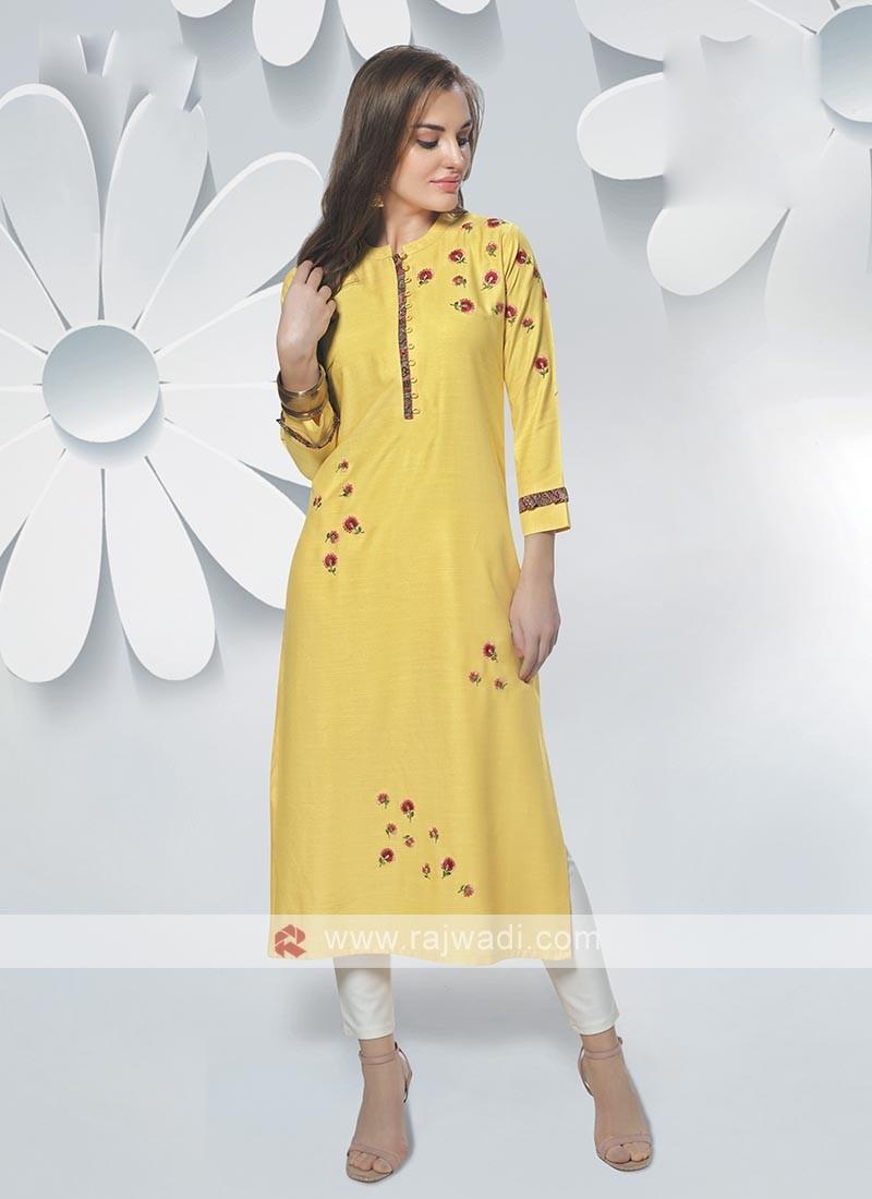 Rayon Lemon Yellow Color Kurti