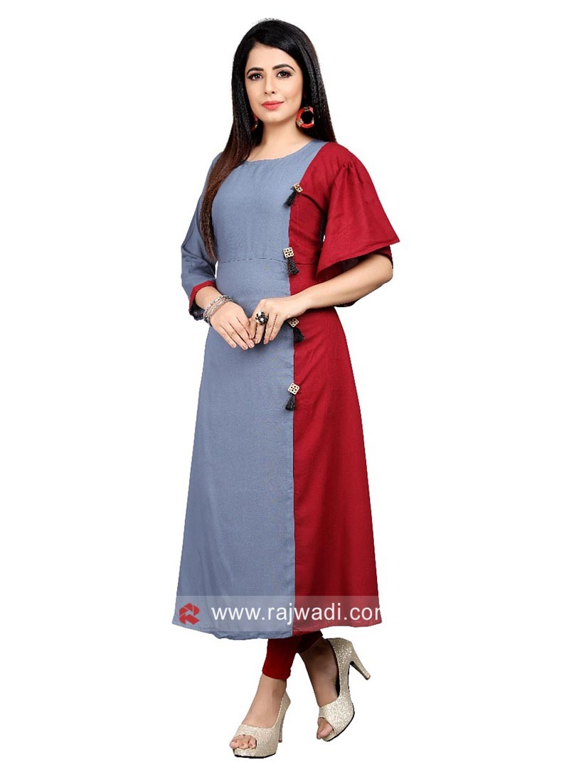 Rayon Red and Grey Kurti