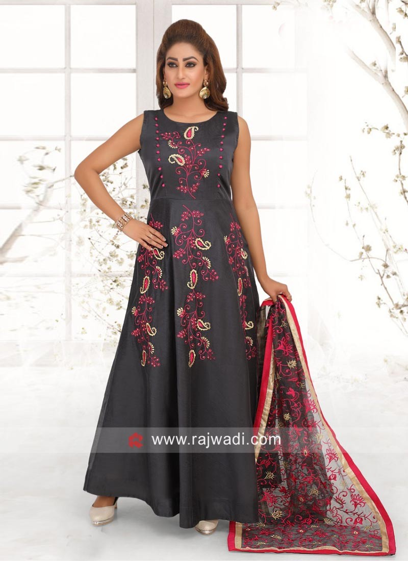 Rayon Silk Anarkali Suit in Dark Grey