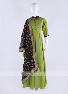 Rayon silk anarkali suit in green color