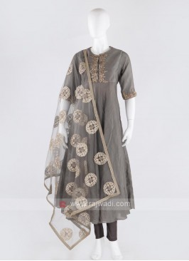 rayon silk anarkali suit in grey color