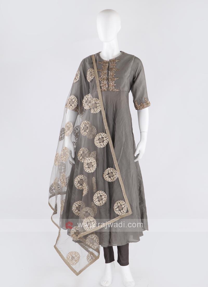 rayon silk anarkali suit in grey color