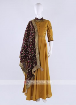 Rayon silk anarkali suit in mustard yellow