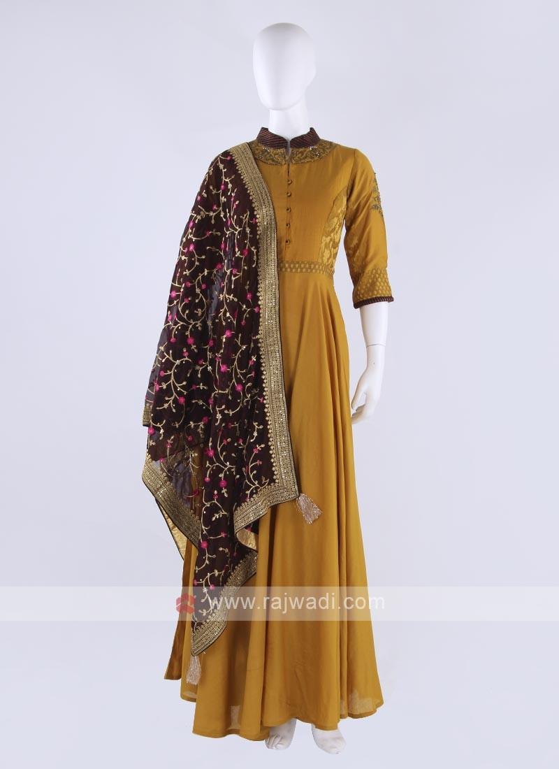 Rayon silk anarkali suit in mustard yellow