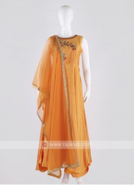 rayon silk anarkali suit in orange color