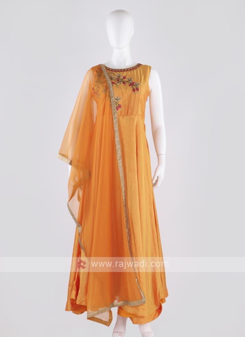 rayon silk anarkali suit in orange color