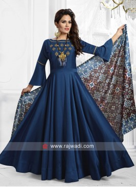 Rayon Silk Anarkali Suit in Peacock Blue