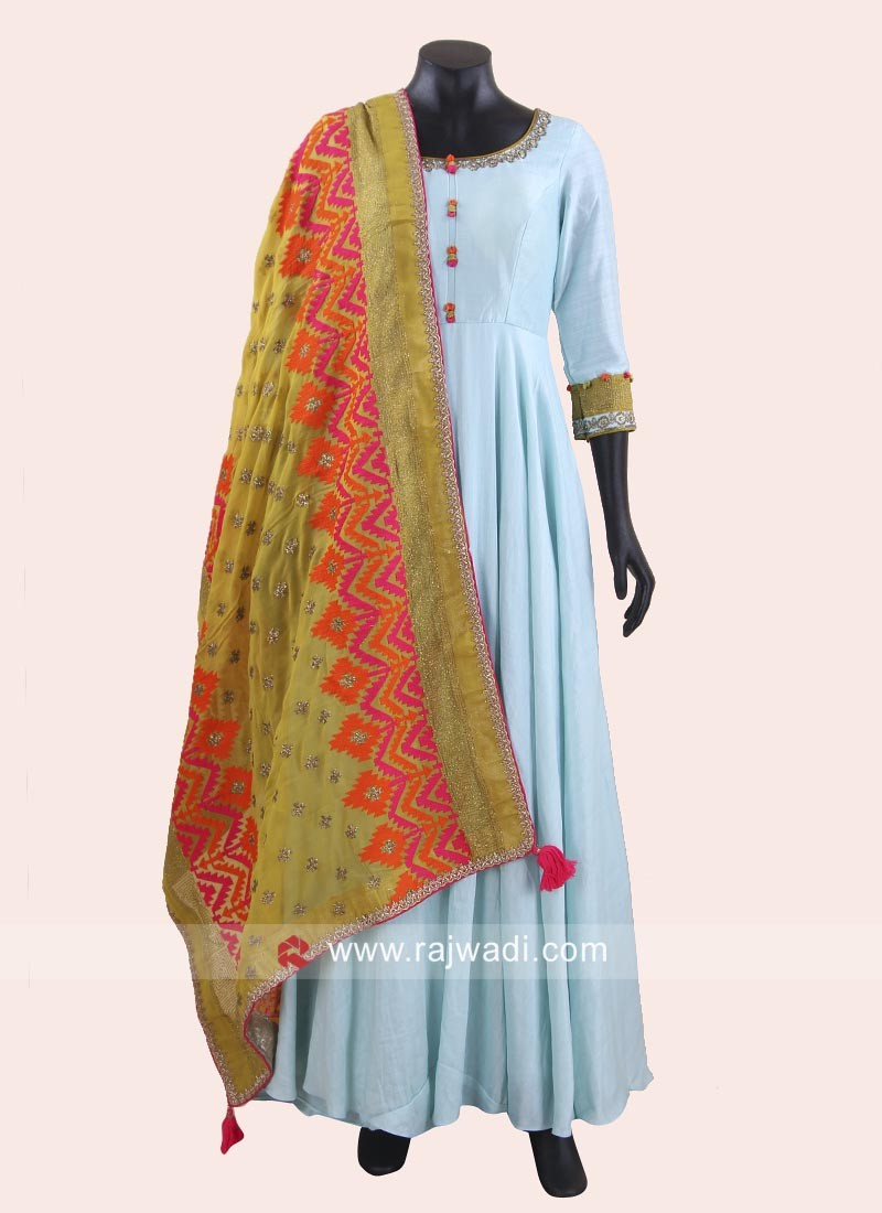 Rayon Silk Anarkali Suit with Dupatta