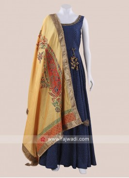 Rayon Silk Anarkali Suit with Silk Dupatta