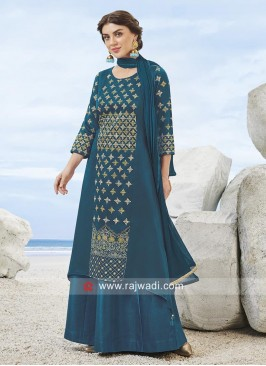 Rayon Silk Designer Gharara Suit in Peacock Blue
