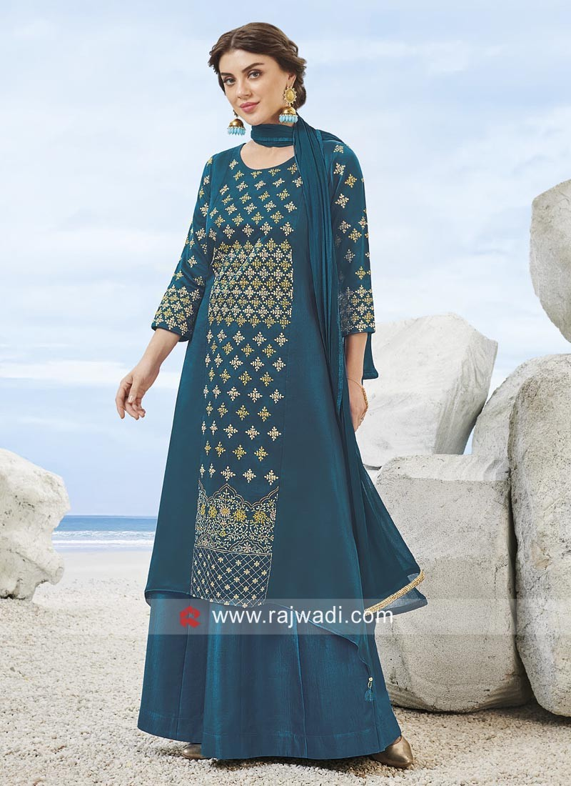 Rayon Silk Designer Gharara Suit in Peacock Blue