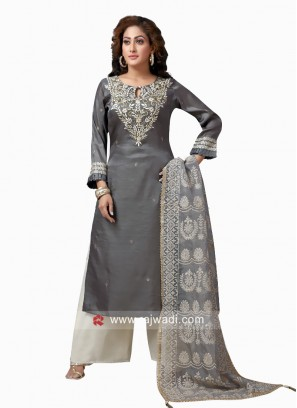 Rayon Silk Embroidered Palazzo Suit