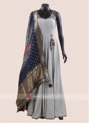 Rayon Silk Floor Length Anarkali Salwar Kameez