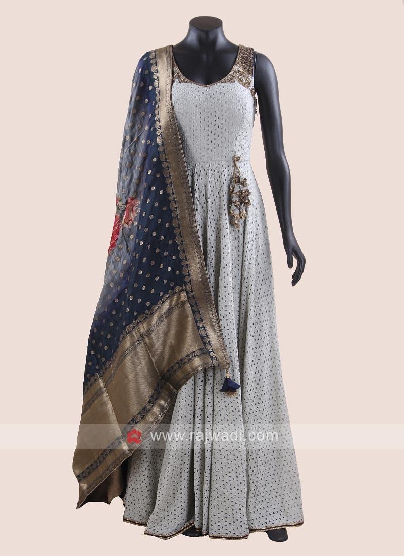 Rayon Silk Floor Length Anarkali Salwar Kameez